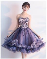 b1bf5869b2f62 パーティードレス 花柄刺繍 パープル ウェディングドレス ミニ カラードレス 花嫁 二次会 ドレス 結婚式