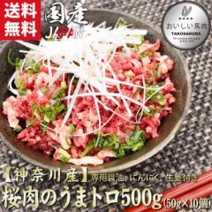 【神奈川産】桜肉のうまトロ500g(50g×10個)/国産/馬刺し/赤身/送料無料/レビューを書くと「馬肉をおいしくする辛みそ」プレゼント