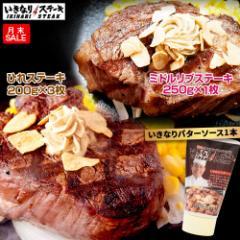 【月末SALE】いきなりステーキ ひれ3枚プラス ミドルリブステーキ250g 1枚セット