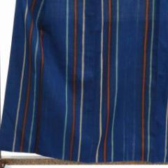 【中古】リサイクル着物 紬 / 正絹紺地後染縦縞袷紬着物 / レディース【裄Mサイズ】(古着 リサイクル品 紬 )