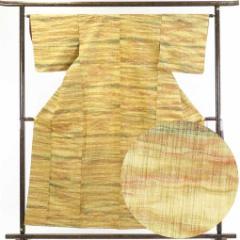 【中古】リサイクル着物 紬 / 正絹黄色地よろけ縞袷紬着物 / レディース【裄Mサイズ】身丈157cm 裄64cm 前幅24cm 後幅30cm 袖丈45cm