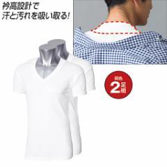 【バーゲン】汚れ防止衿高半袖Vネックシャツ・2枚組 LL|B181-193693