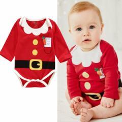 【送料無料】かわいい サンタクロース 新生児服 ベビーロンパース 下着 パジャマ 0ヵ月から18ヵ月