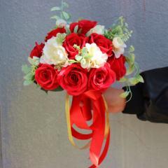 ウェディングブーケ 造花 ブーケ ブライダルブーケ ラウンドブーケ トスブーケ 結婚式 花束【直径約25cm・高さ約27cm】【flo58b】