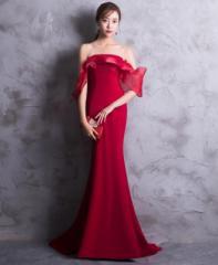 【カラードレス】編み上げ/ロングドレス/ウェディングドレス/パーティードレス/マーメイド/レッド/S〜XXLサイズ/hslf229