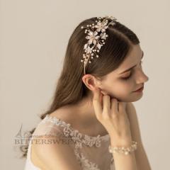 カチューシャ ヘッドドレス ヘアアクセサリー ヘアコサージュ ウェディングアクセサリー 髪飾り ビジュー 花柄 ac90jd