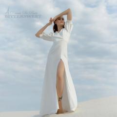 ウェディングドレス オーダーメイドも可能 ウエディングドレス 五分袖 スリット ファスナー 【XS〜XXL】【wd283jx】
