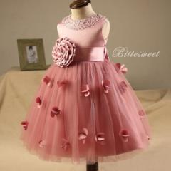 子供 ドレス  カラードレス 発表会 ワンピース お出かけ こどもドレス ファスナー【ピンク】【80cm〜150cm】【dd3】