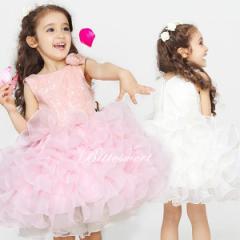 子供 ドレス カラードレス 発表会 ワンピース お出かけ こどもドレス ファスナー【ホワイト・ピンク】【100cm〜150cm】【dd4】