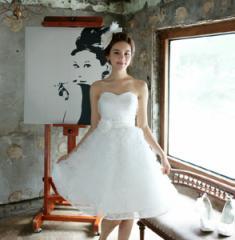 編み上げ/ウエディングドレス/ウェディングドレス/ミニドレス/ビスチェ/フリル/刺繍/XS〜XXXL/ホワイト/hsst41