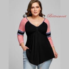 大きいサイズ シャツ・カットソー レディーストップス ロングTシャツ カラーシャツ Vネック/XL〜5XL/dnz9sz