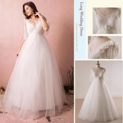 大きいサイズ/ウェディングドレス/エンパイア/床付き/フレア袖/Vネック/編み上げ/ホワイト/XL〜7XL/fh43