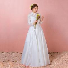 大きいサイズ/ウェディングドレス/Aライン/床付き/ハイネック/袖付き/編み上げ/ホワイト/XL〜7XL/fh46
