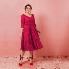 大きいサイズカラードレス/ウェディングドレス/ブライズメイドドレス/Vネックライン/編み上げ/ワインレッド/2XL〜7XL/fhd11
