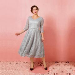 大きいサイズカラードレス/ミモレ丈/ウェディングドレス/袖付き/Vネックライン/編み上げ/グレー/2XL〜7XL/fhd21