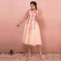 大きいサイズカラードレス/ミモレ丈/ウェディングドレス/袖付き/刺繍/編み上げ/ピンク/2XL〜7XL/fhd22