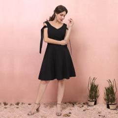 大きいサイズカラードレス/ミモレ丈/ウェディングドレス/ショート・ミニドレス/ノースリーブ/ファスナー/ブラック/XL〜7XL/fhd29