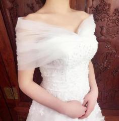 ショール/ウエディング/ウェディング/結婚式/ウェディング小物/編み上げ/ストール/2サイズ/ホワイト/hp134