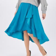 ANELA LUX 上品な華奢見せラッフルフレアースカート アンミカ アネラリュクス ミセス 膝丈 上品 細見え