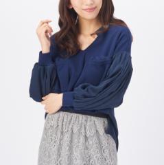ANELA LUX 1枚で洗練!バルーン袖異素材プルオーバー アンミカ 春 大人可愛い 人気 20代 30代 40代 ミセス
