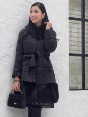 ANELA LUX アネラリュクス/アンミカ  女優シルエット フェイクファー付き中わたコート