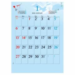 予約  2019年 カレンダー 壁掛け A2 空いろ eco スケジュール シンプル オフィス トーダン平成31年暦 cp100