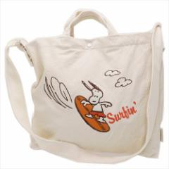 送料無料 スヌーピー ショルダートートバッグ トール 2way 刺繍 Surf ピーナッツ キャラクターグッズ通販