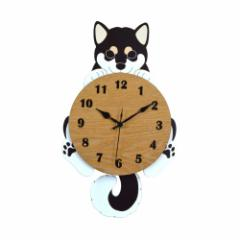 取寄品  柴犬 掛け時計 振り子時計 にっこり ブラック いぬ インテリアグッズ通販