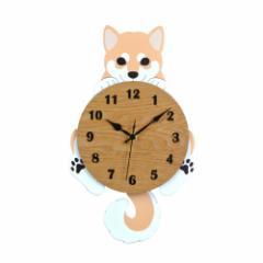 取寄品  柴犬 掛け時計 振り子時計 にっこり ブラウン いぬ インテリアグッズ通販