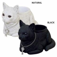 取寄品 鉢植え ギフト雑貨 ネコ プランター 香箱座り BLACK NATURAL ギフト グッズ