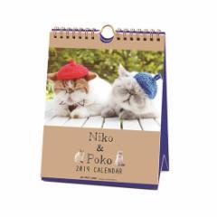 2019年 猫カレンダー Niko & Poko ポストカード仕様 卓上 ニコ ポコ ねこ インテリア 150×190mm 2019 Calendar メール便可