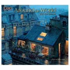 カレンダー 2019年 ラング LANG 壁掛け AROUND THE WORLD Eugene Lushpin 340×610mm インテリア 2019 Calendar