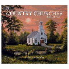 2019 カレンダー 絵画 ラング LANG 壁掛け COUNTRY CHURCHES Bill Saunders 340×610mm インテリア 2019 Calendar