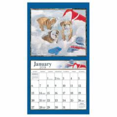 アート カレンダー 2019年 ラング LANG 壁掛け PUPPY Jim Lamb 340×610mm インテリア 2019 Calendar