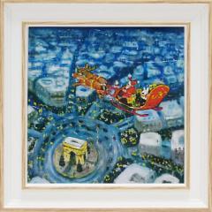 取寄品 リサとガスパール フレンチアート 額付きポスター メリークリスマスS キャラクターグッズ