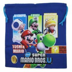 スーパーマリオブラザーズU 巾着袋M 子供用きんちゃくポーチ ゲームキャラ入園入学グッズ