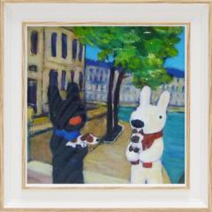 取寄品 リサとガスパール フレンチアート 額付きポスターS いぬとねこ 絵本キャラクターグッズ