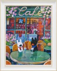 取寄品 送料無料 リサとガスパール フレンチアート 額付きポスターL 春のカフェ 絵本キャラクターグッズ