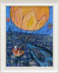 取寄品 送料無料 リサとガスパール フレンチアート 額付きポスターL 気球 絵本キャラクターグッズ