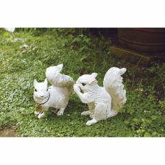 取寄品 SQUIRREL オブジェ ガーデンオーナメント S 二匹セット リス おしゃれインテリア雑貨通販