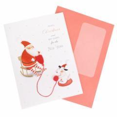 クリスマスカード インポートハンドメイドカード サンタと編み物 Xmasギフト雑貨グッズ メール便可