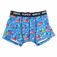 スーパーマリオ 男性用下着 メンズボクサーパンツ ドットブルー キャラクターグッズ メール便可