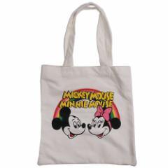 ミッキー&ミニー トートバッグ キャンバスカラートート レインボーホワイト ディズニー キャラクター グッズ