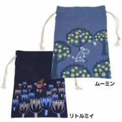 ムーミン 巾着袋 デニムビッグきんちゃくポーチ ムーミン リトルミイ 北欧 キャラクターグッズ メール便可