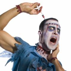 ハロウィン コスプレ 衣装 ゾンビ シリンジ ヘッドピース 突き刺さった 注射器 お化け ホラー パーティ 雑貨グッズ