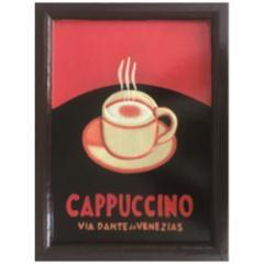取寄品 Handmade Sign Board インテリア アート カフェ風インテリア CAPPUCCINO カプチーノ 額付き手彫りフレーム通販