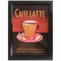 取寄品 Handmade Sign Board インテリア アート カフェ風インテリア CAFFE LATTE カフェラテ 額付き手彫りフレーム通販