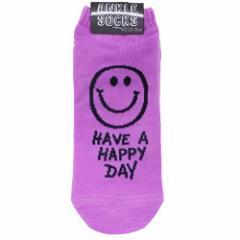 HAVE A HAPPY DAY 男女兼用靴下 アンクルソックス パステルパープル メンズ レディースグッズ メール便可