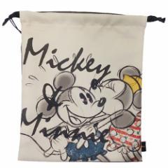 ミッキー&ミニー 巾着袋 リボンきんちゃくポーチ キス ディズニー キャラクター グッズ
