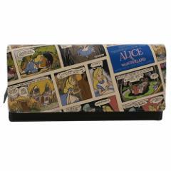 送料無料 ふしぎの国のアリス レディース 本革 長財布 レザーかぶせ ロング ウォレット コミックアート ディズニー 通販